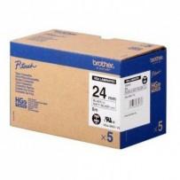 Brother originální páska do tiskárny štítků, Brother, HGE-M951, černý tisk/stříbrný matný podklad, 8m, 24mm, 5 ks v balení, c...