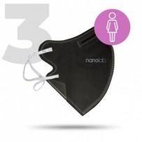 Nano respirátor, FFP2, černý, dámský, 3ks, Nanolab