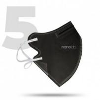 Nano pratelný respirátor, FFP2, černý, univerzální, 5ks, Nanolab