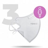 Nano pratelný respirátor, FFP2, bílý, dámský, 3ks, Nanolab