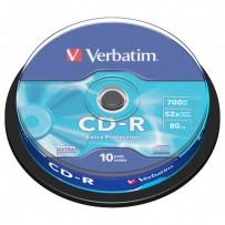 Verbatim CD-R, 43437, DataLife, 10-pack, 700MB, Extra Protection, 52x, 80min., 12cm, bez možnosti potisku, cake box, Standard...