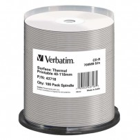 Verbatim CD-R, 43718, Thermal Surface For Rimage Prism, 100-pack, 700MB, 52x, cake box, pro archivaci dat