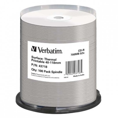 Verbatim CD-R, 43718, Thermal Surface For Rimage Prism, 100 ks, 700MB, 52x, cake box, pro archivaci dat