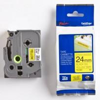 Brother originální páska do tiskárny štítků, Brother, TZE-S651, černý tisk/žlutý podklad, laminovaná, 8m, 24mm, extrémně adhe...