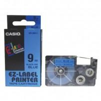 Casio originální páska do tiskárny štítků, Casio, XR-9BU1, černý tisk/modrý podklad, nelaminovaná, 8m, 9mm