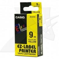 Casio originální páska do tiskárny štítků, Casio, XR-9YW1, černý tisk/žlutý podklad, nelaminovaná, 8m, 9mm
