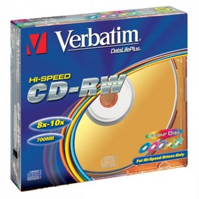 Verbatim CD-RW, 43167, DataLife PLUS, 5-pack, 700MB, Serl, 8-12x, 80min., 12cm, Color, bez možnosti potisku, slim box, Color,...