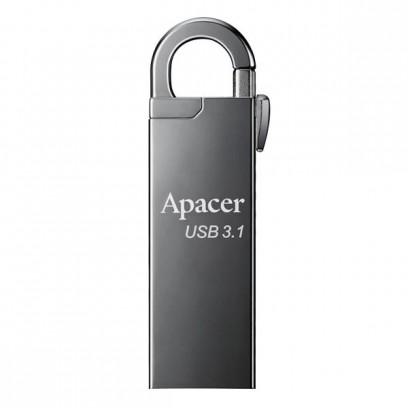 Apacer USB flash disk, 3.1, 16GB, AH15A, stříbrný, stříbrná, AP16GAH15AA-1, s karabinkou