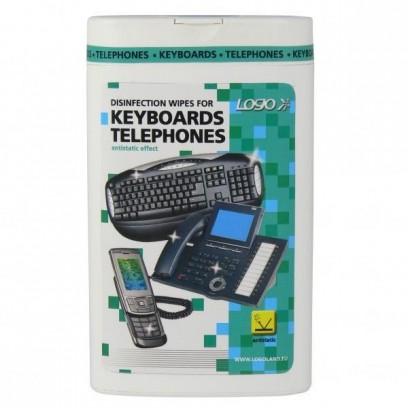 Čisticí trhací ubrousky, na klávesnice a telefony, dóza, dezinfekční, 50 ks
