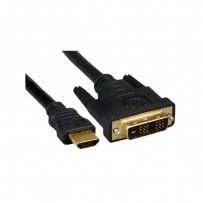 Kabel DVI (18+1) M- HDMI M, 2m, zlacené konektory, černá
