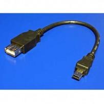 Kabel USB (2.0), USB mini M (5pin)- USB A F, 0.2m, černý