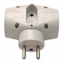 Rozbočovací zásuvka 240V, CEE7 (vidlice)-zásuvka 3x, 0.1m, 2x typ E,1x typ C, bílá, 3 zásuvky