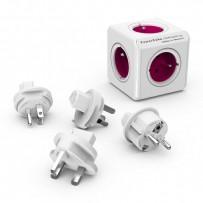 Rozbočovací zásuvka 240V, CEE7 (vidlice)-POWERCUBE, 0.1m, REWIRABLE, růžová, POWERCUBE, 5 zásuvek, vyměnitelná proud. ochrana