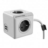 Síťový kabel 230V prodlužovací, CEE7 (vidlice)-POWERCUBE, 3m, EXTENDED USB, šedý, POWERCUBE, 4 zásuvky, dětské pojistky