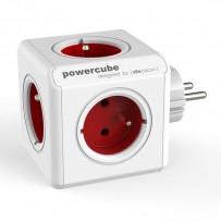 Rozbočovací zásuvka 240V, CEE7 (vidlice)-POWERCUBE, 0.1m, ORIGINAL, červená, POWERCUBE, 5 zásuvek, dětské pojistka