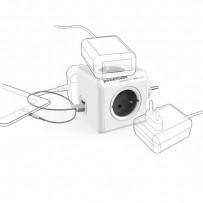 Rozbočovací zásuvka 240V, CEE7 (vidlice)-POWERCUBE, 0.1m, ORIGINAL USB, šedá, POWERCUBE, 4 zásuvky, 2xUSB porty