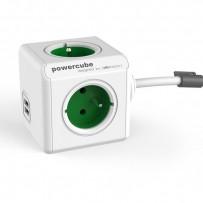 Síťový kabel 230V prodlužovací, CEE7 (vidlice)-POWERCUBE, 1.5m, EXTENDED USB, zelený, POWERCUBE, 4 zásuvky, 2xUSB port,dětská...
