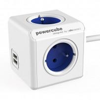 Síťový kabel 230V prodlužovací, CEE7 (vidlice)-POWERCUBE, 1.5m, EXTENDED USB, modrý, POWERCUBE, 4 zásuvky, 2xUSB port, dětská...