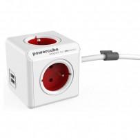 Síťový kabel 230V prodlužovací, CEE7 (vidlice)-POWERCUBE, 1.5m, EXTENDED USB, červený, POWERCUBE, 4 zásuvky, 2xUSB port,dětsk...