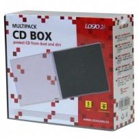 Box na 1 ks CD, průhledný, černý tray, Logo, 10,4 mm, 5-pack