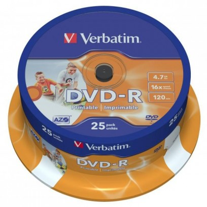 Verbatim DVD-R, 43538, DataLife PLUS, 25-pack, 4.7GB, 16x, 12cm, General, Advanced Azo+, cake box, Wide Printable, pro archiv...