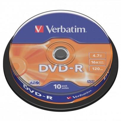 Verbatim DVD-R, DataLife PLUS, 10-pack, 4.7GB, 16x, 12cm, General, Advanced Azo+, cake box, Scratch Resistant, bez mož.potisku