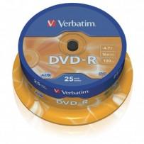 Verbatim DVD-R, DataLife PLUS, 25-pack, 4.7GB, 16x, 12cm, General, Advanced Azo+, cake box, Scratch Resistant, bez mož.potisk