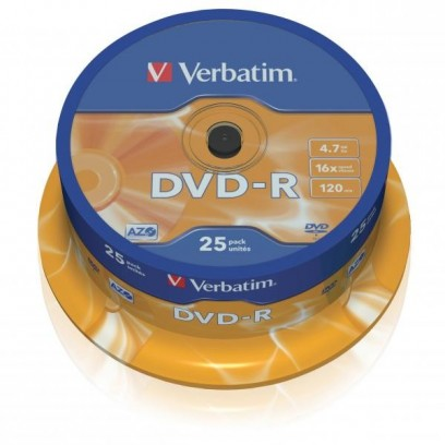 Verbatim DVD-R, 43522, DataLife PLUS, 25-pack, 4.7GB, 16x, 12cm, General, Advanced Azo+, cake box, Scratch Resistant, bez mož...