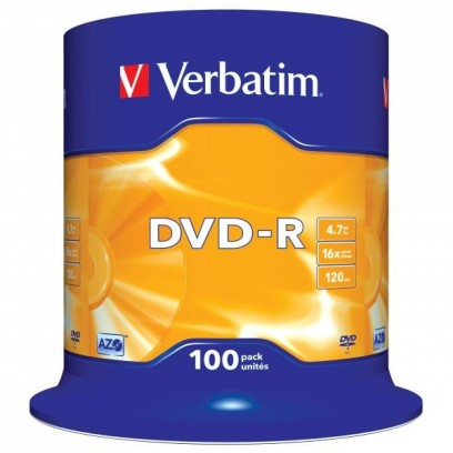 Verbatim DVD-R, 43549, DataLife PLUS, 100-pack, 4.7GB, 16x, 12cm, General, Advanced Azo+, cake box, Scratch Resistant, bez mo...