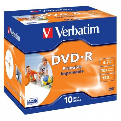 Verbatim DVD-R, DataLife PLUS, 10-pack, 4.7GB, 16x, 12cm, General, Advanced Azo+, jewel box, Wide Printable