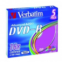 Verbatim DVD-R, 43557, DataLife PLUS, 5-pack, 4.7GB, 16x, 12cm, General, Advanced Azo+, slim box, Colour, bez možnosti potisk...