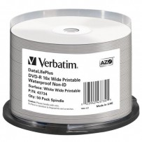 Verbatim DVD-R, 43734, Waterproof, 50-pack, 4.7GB, 16x, 12cm, General, Standard, cake box, Wide Printable, pro archivaci dat
